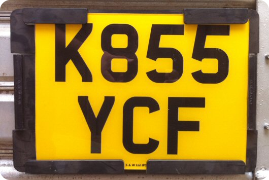 Trailer number plate
